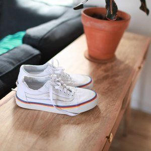 Vans white canvas lace up old skool sneakers 8 1/2